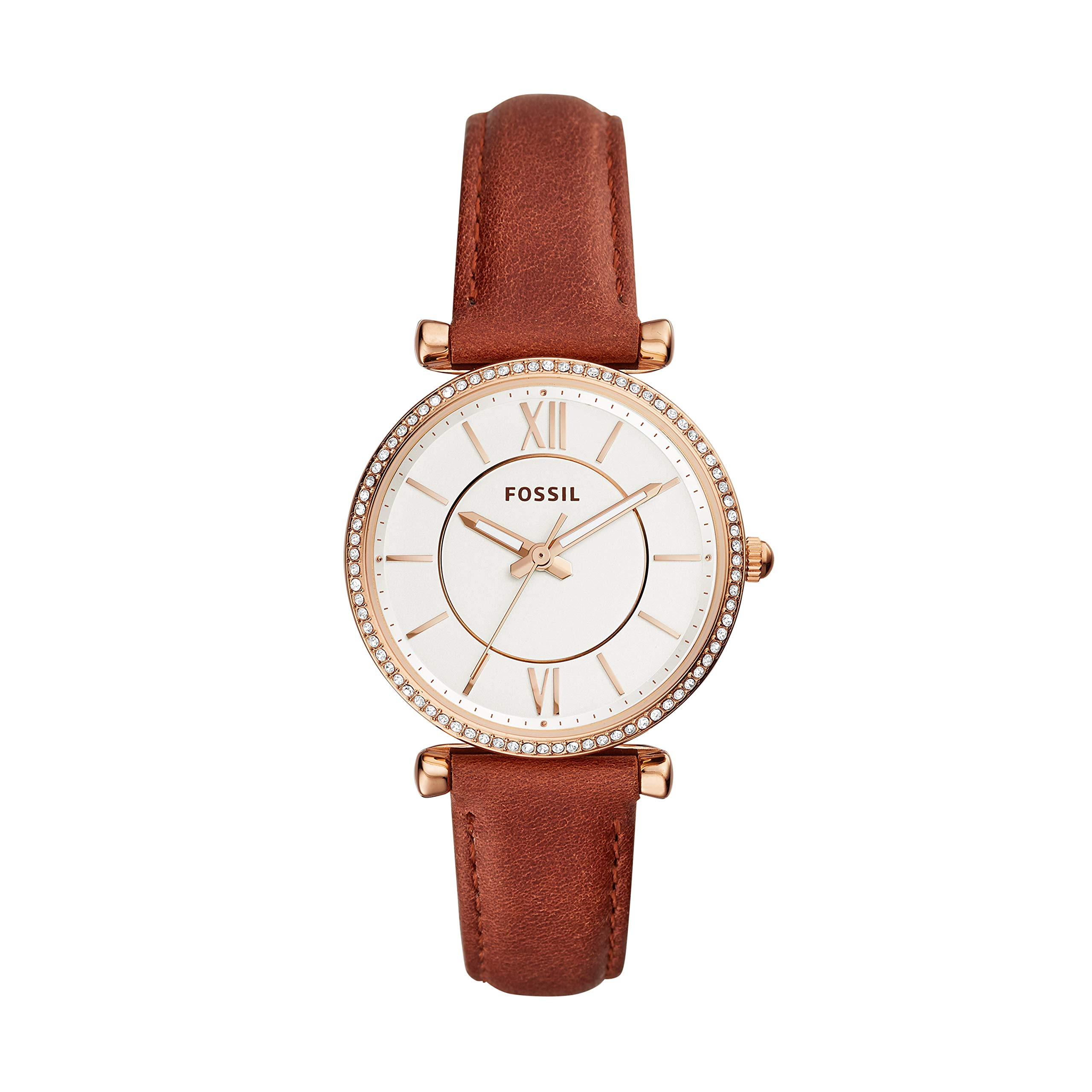 Fossil Women's 'Carlie' Quartz Stainless Steel and Leather Casual Watch, Color:Brown (Model: ES4428)