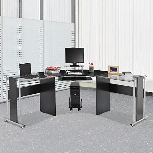 HOMCOM L-Shaped Corner Computer Desk Gaming Table Home Office Workstation Glass Top P2 MDF