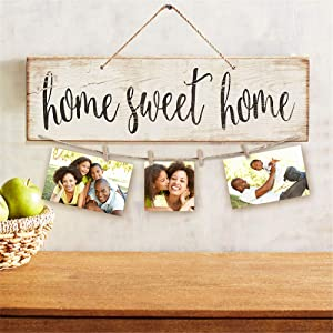 Chesean Home Decor New Home Gifts -Home Sweet Home-Real Pallet Wood Sign for Rustic Home Decor,Clips and Twine for Photo Hanging, Gifts for Housewarming New Homeowners