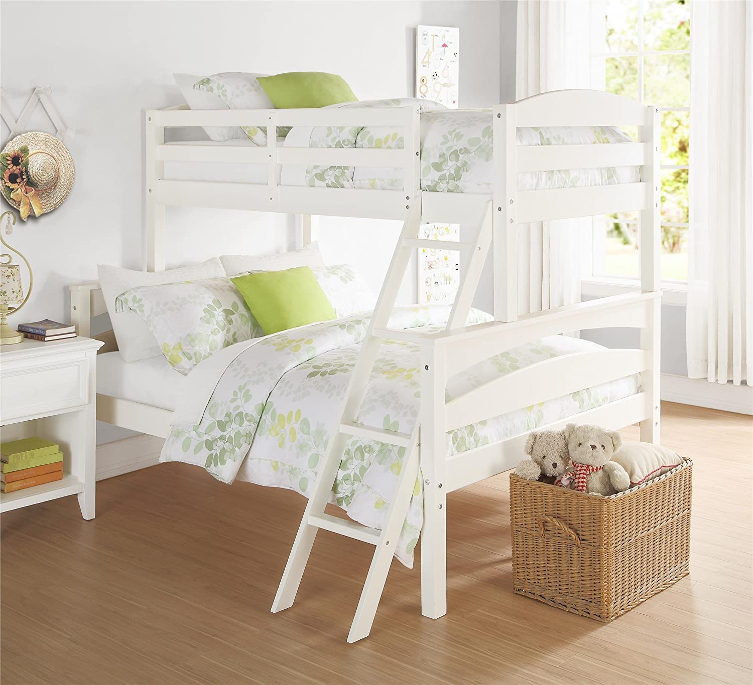 Brady Twin over Full Solid Wood Kid's Bunk Bed with Ladder, White