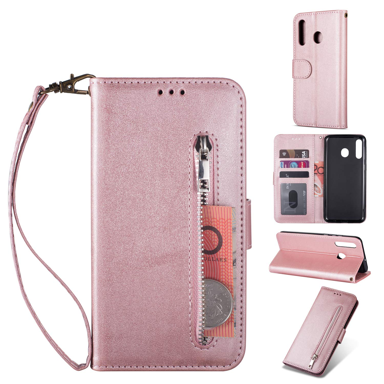 Zipper Wallet Case with Black Dual-use Pen for Samsung Galaxy A20/A30,Aoucase Money Coin Pocket Card Holder Shock Resistant Strap Purse PU Leather Case for Samsung Galaxy A20/A30 - Rose Gold by Aoucase