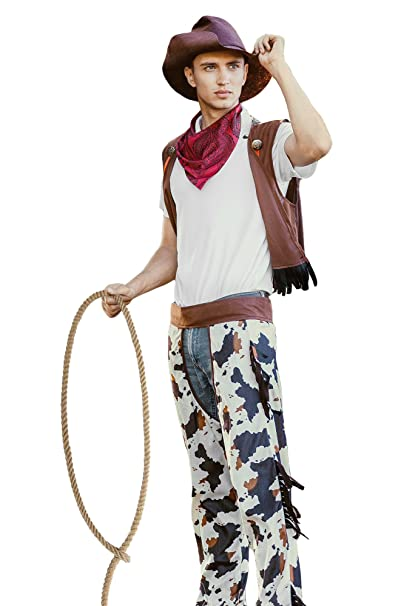 Men Wild West Rodeo Cowboy Western Cowpoke DressUp & RolePlay Halloween Costume (Large)