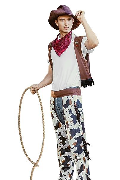 Men Wild West Rodeo Cowboy Western Cowpoke DressUp & RolePlay Halloween Costume (Large)