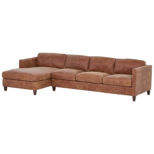 Stone Beam Andover Left-Facing Sofa-Chaise Sectional, 126 W, Saddle-Colored Leather