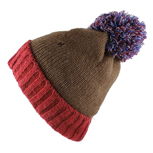 452175174d8 Image Unavailable. Image not available for. Color  Two Color Knit Beanie  with Multi Colored Pom ...