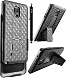 Note 4 Case, Note 4 Holster Case, E LV Galaxy Note 4 Holster Case Cover - Dual Layer Armor Defender Protective Case Cover with Belt Swivel Clip for Samsung Galaxy Note 4 - BLACK