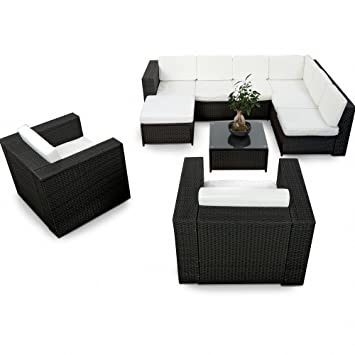 Polyrattan lounge sessel schwarz  Amazon.de: XINRO 25tlg. Deluxe Lounge Garnitur Set Gruppe Polyrattan ...