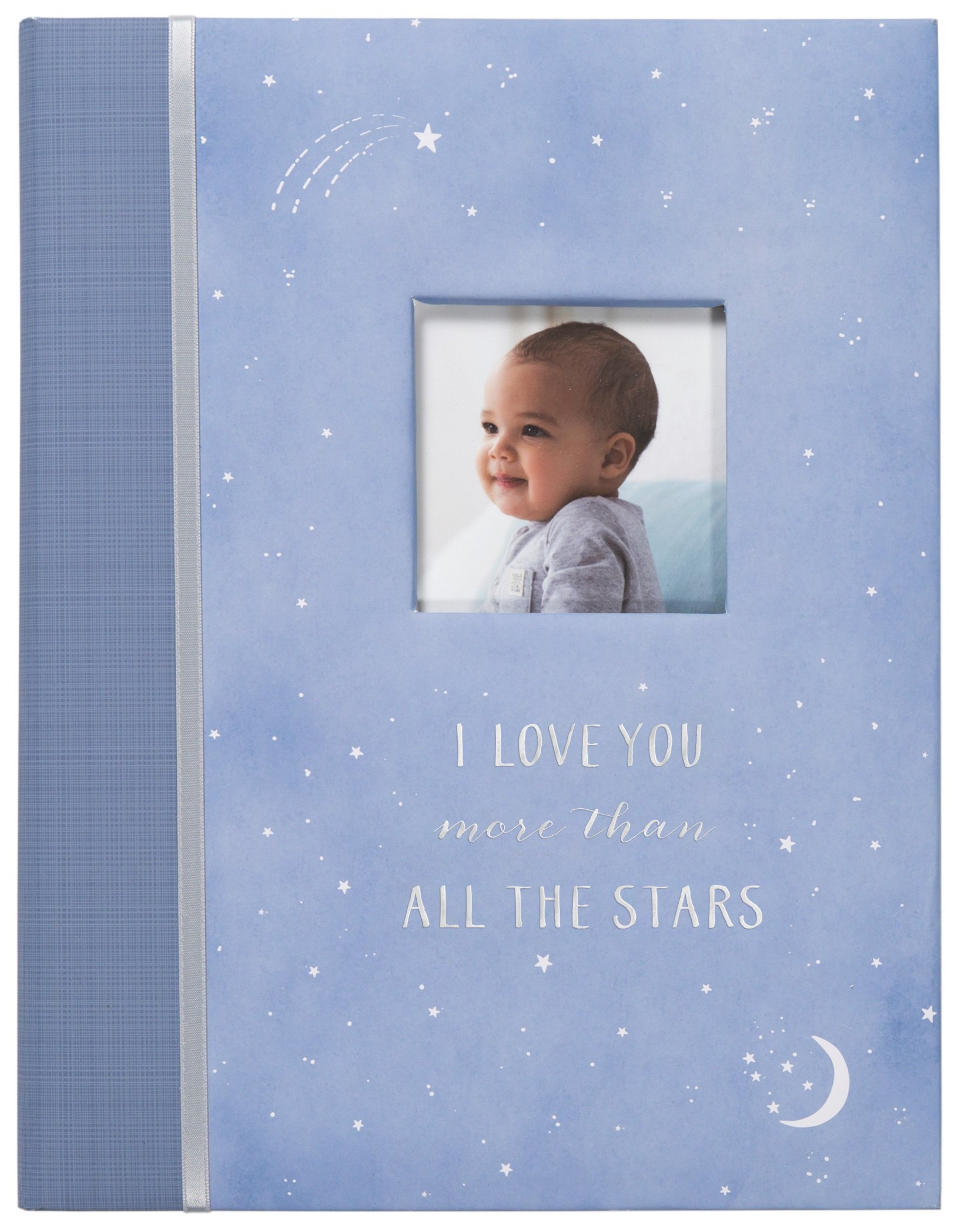 Carter's Periwinkle and Silver Twinkle Twinkle Little Star My First Years Bound Baby Memory Book, 9'' W x 11.125'' H, 60 Pages