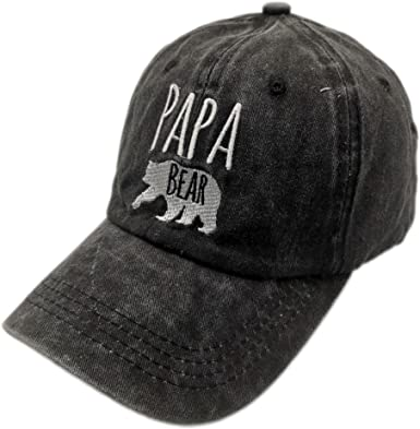 Papa Bear Fathers Day Unisex Baseball Cap Fitted Sport Baseball Hats Adjustable Trucker Caps Dad-Hat