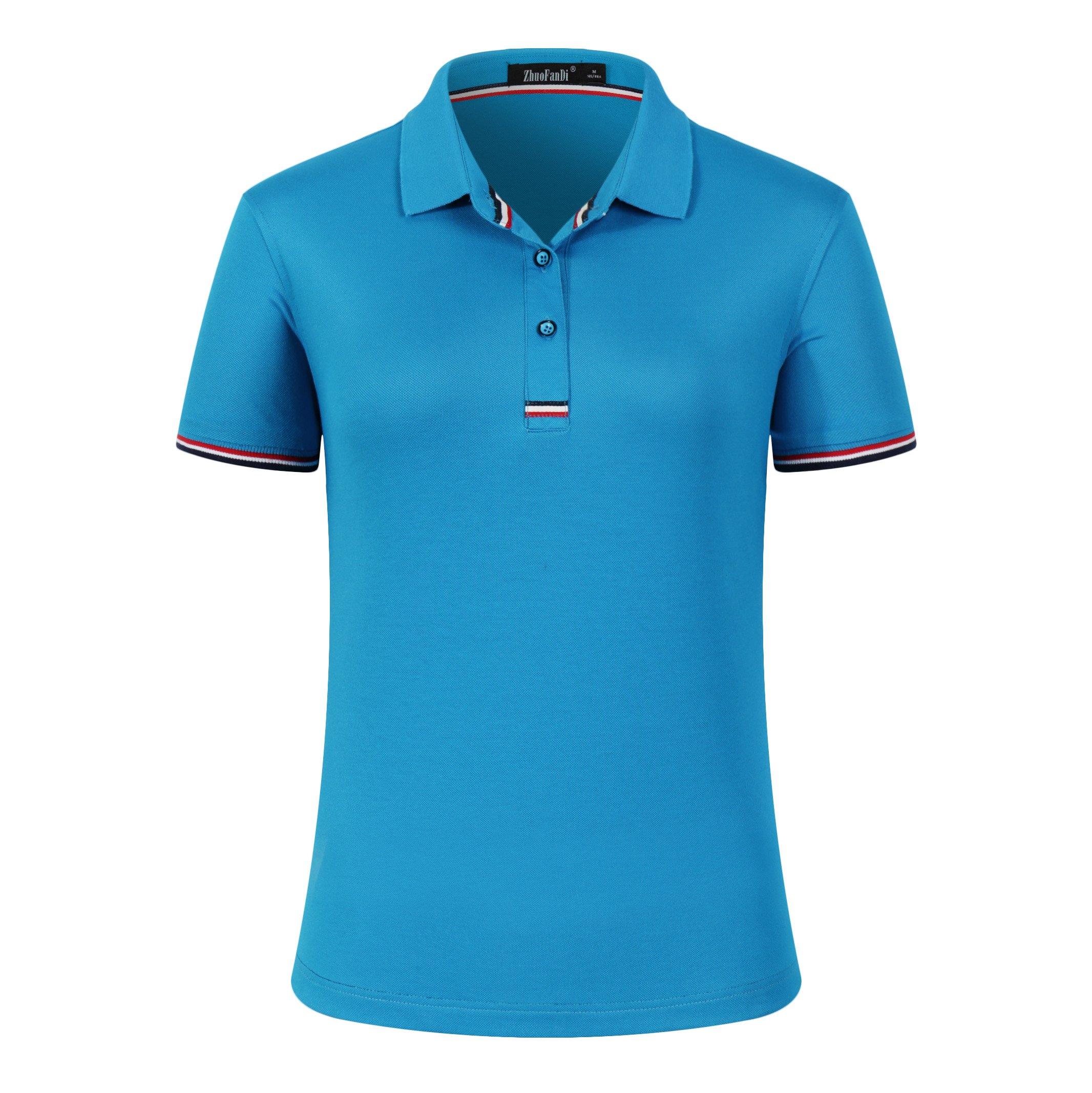 Mitario Femiego Women Classic Striped Collar Slim Fit Short Golf Polo Shirt Blue S