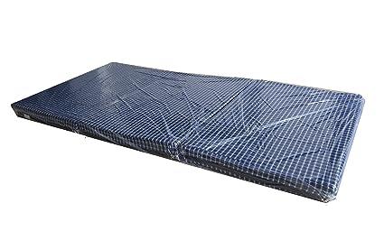Loop Linens 3 Fold Single Bed Epe Foam Mattress (Blue, 72X35X3 - inch)