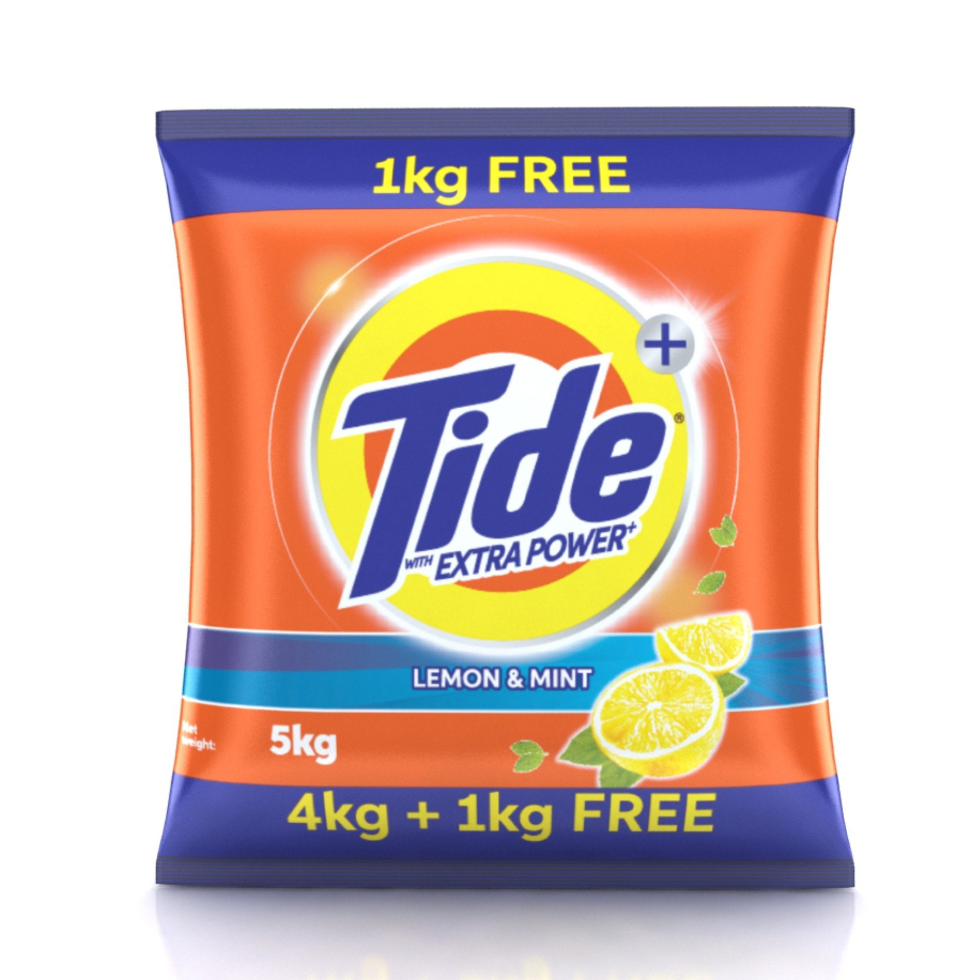 Tide Plus Extra Power Detergent Washing Powder - 4 kg (Lemon and Mint) with Free Detergent Powder - 1 kg product image