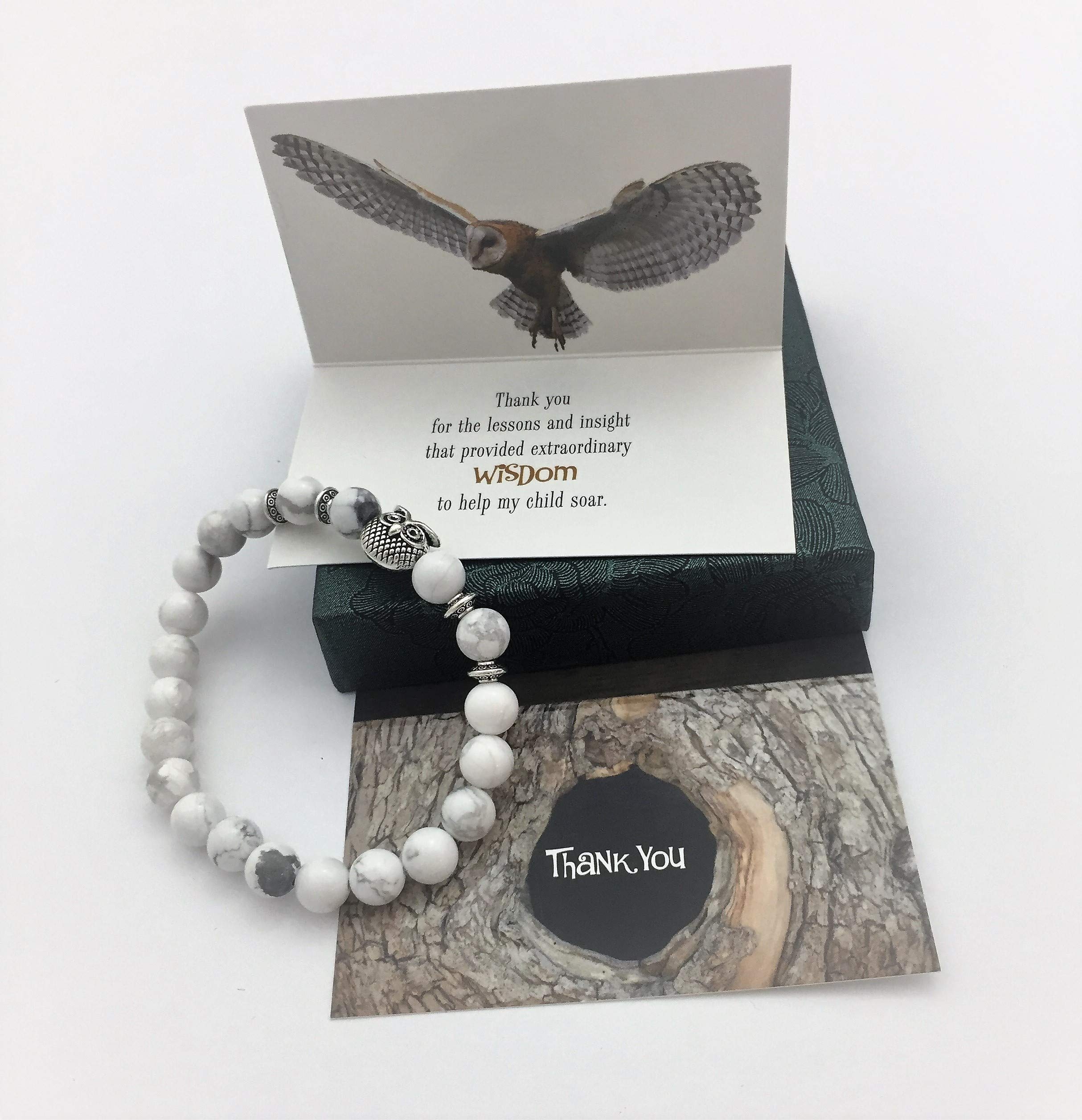 Smiling Wisdom - Owl Stretch Bracelet - Thank You Teacher Appreciation - Mentor Coach Counselor Gift Set - For Her Woman from Parent of Son or Daughter Student - White Grey - Wisdom