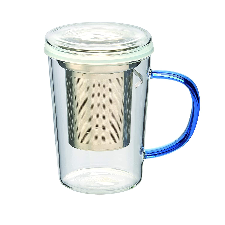 casaWare 18-Ounce Borosilicate Glass Tea Infuser Mug with Lid (Blue Handle)