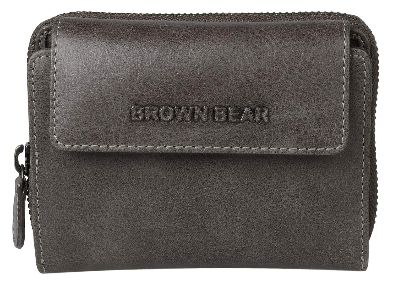 Brown Bear Coole Design Geldbörse Damen Leder Schwarz mit RFID Schutz Reißverschluss hochwertig Frauen Geldbeutel Portemonnaie Portmonee BB Mandy bk