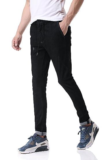 Pau1Hami1ton D-01 Men's Super Stretch Skinny-Fit Jeans Denim Trousers:  Amazon.co.uk: Clothing