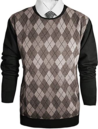 Vitorio Romani by Trends Setters Mens Slim Fit Knitted Long Sleeve V-Neck Printed Sweater in Gray