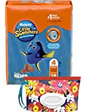 Huggies Little Swimmers Disposable Swim Diapers, Swimpants, Size 4 Medium (24-34 lb.), 18 Ct., with Huggies Wipes Clutch 'N' Clean Bonus Pack (Packaging May Vary)