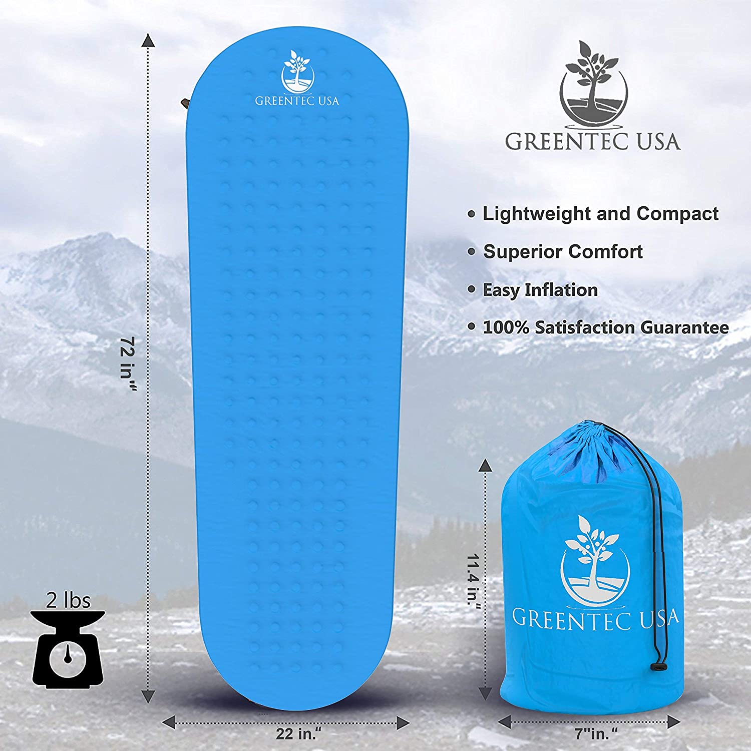 Premium Self-Inflating Sleeping Pad - Inflatable Foam Sleeping Mat for Camping, Hiking, and Traveling - Lightweight, Compact, and Durable - Works ...