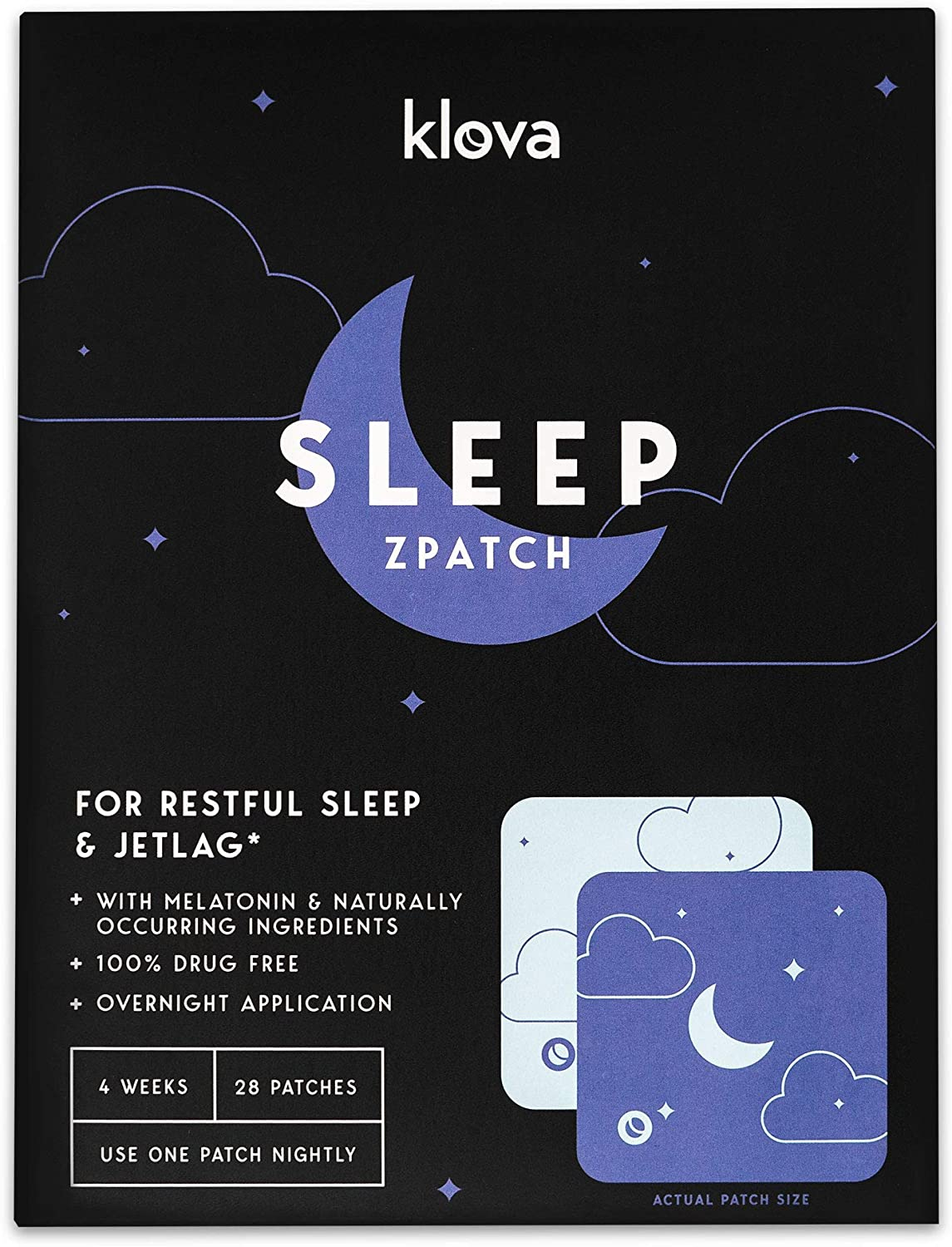 Klova Sleep Patch with Melatonin and Natural Ingredients Promotes restful Sleep and eliminates Jet lag: Health & Personal Care