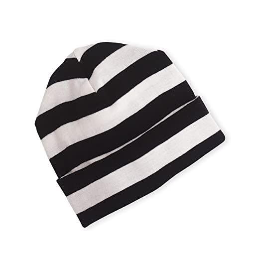 Amazon.com  Tesa Babe Black + Ivory White Striped Beanie Hat ... 439bab8d803