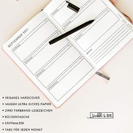 A5 Dickes Papier 140gsm Wochen//Monats//Jahres-Planer Notizbuch Reiseplaner Terminplaner Terminkalender 2021 Ohne Datum Kalender 2021- Wochenplaner 2021 Tagebuch Handgebunden-Bee
