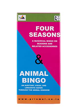 Prism Edutives Animal And Four Seasons Clue Based Pictorial Bingo (Blue and Pink)