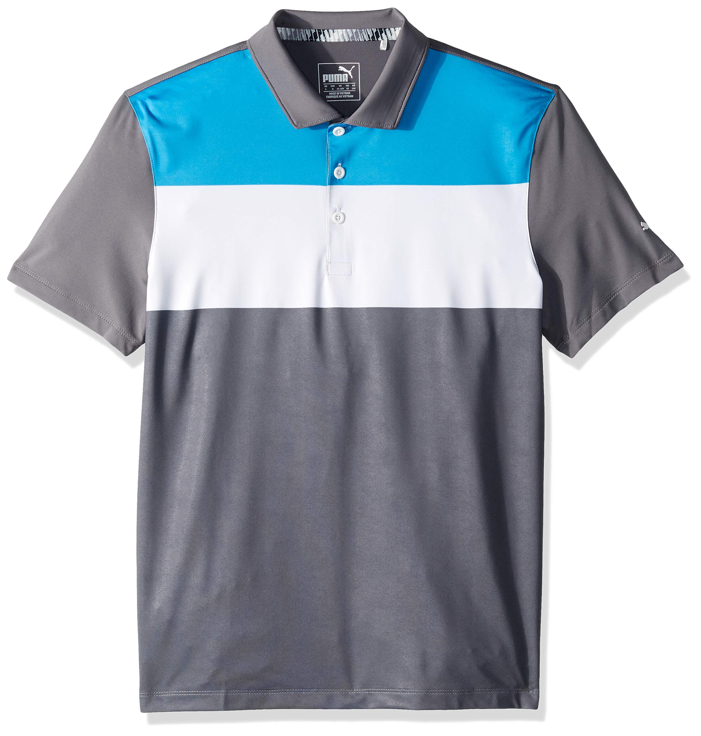 Puma Golf Boys 2019 Nineties Polo, Bleu Azure-Quiet Shade, Small by PUMA
