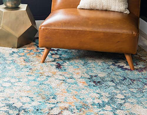 Unique Loom Vita Collection Traditional Over-Dyed Vintage Blue Area Rug 3 3 x 5 3