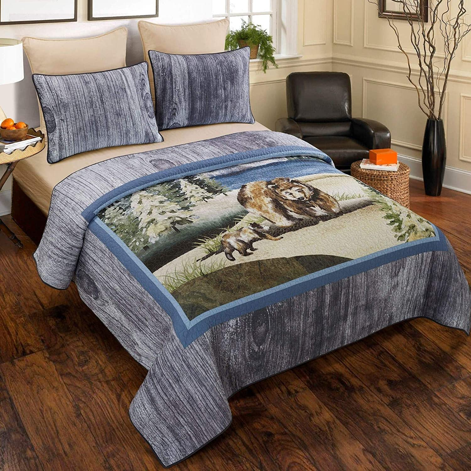 Donna Sharp King Bedding Set - 3 Piece - Montana Morning Lodge Quilt Set with King Quilt and Two King Pillow Shams - Machine Washable