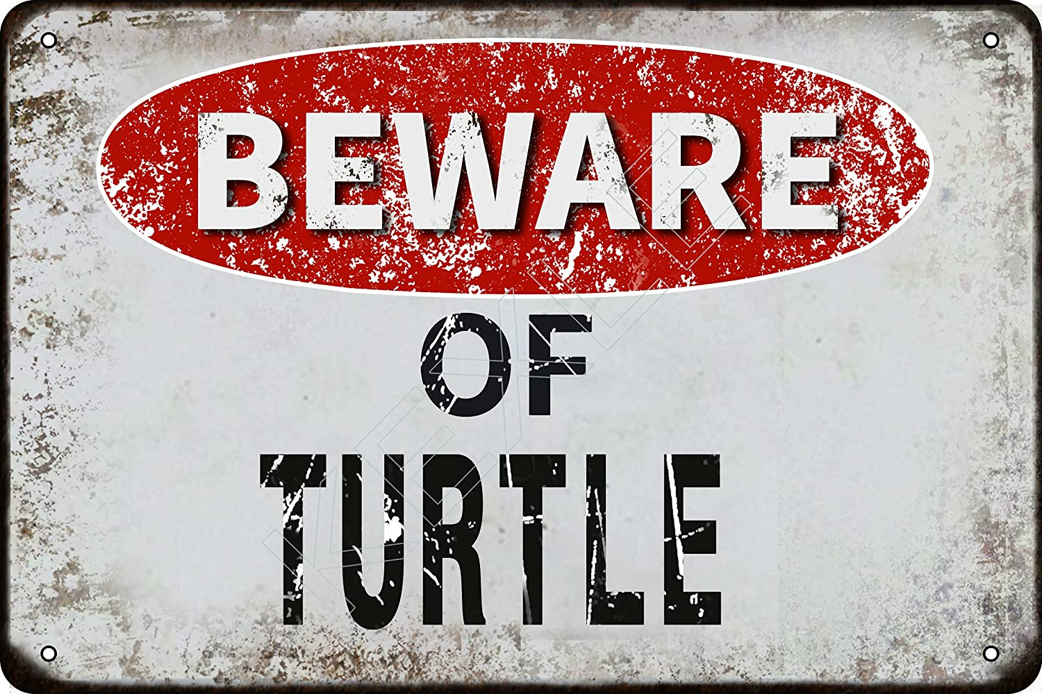 kexle Beware of Turtle Vintage Metal Tin Sign Retro Funny Tin Sign for Wall Decor—8