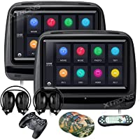 XTRONS 2x9 Inch Pair Touch Screen Car Auto Headrest DVD Player Game 1080P Video Built-in HDMI Port Headphones Included (Black)