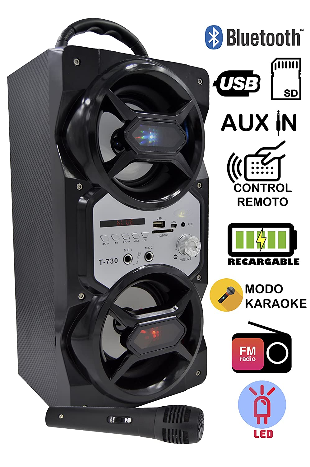Cassa Karaoke Bluetooth, ITK Cassa altoparlante portatile bluetooth Karaoke microfono incluso Radio FM integrada + Lettore USB / SD / Line in 3.5mm, batteria ricaricabile Luci LED compatibilità iPhone Android Smartphone PC MAC TV MP3 (Modello 719-2) ELECIT