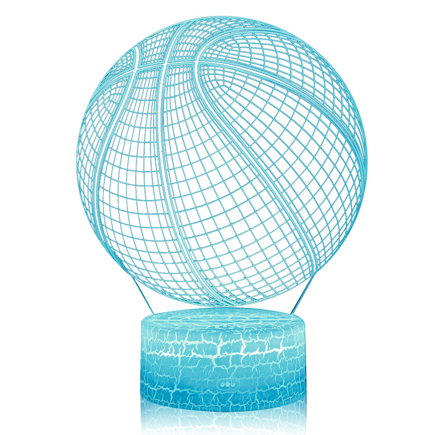 3D Illusion Basketball Night Lamp, 7 Color Change, Touch White Crack Base