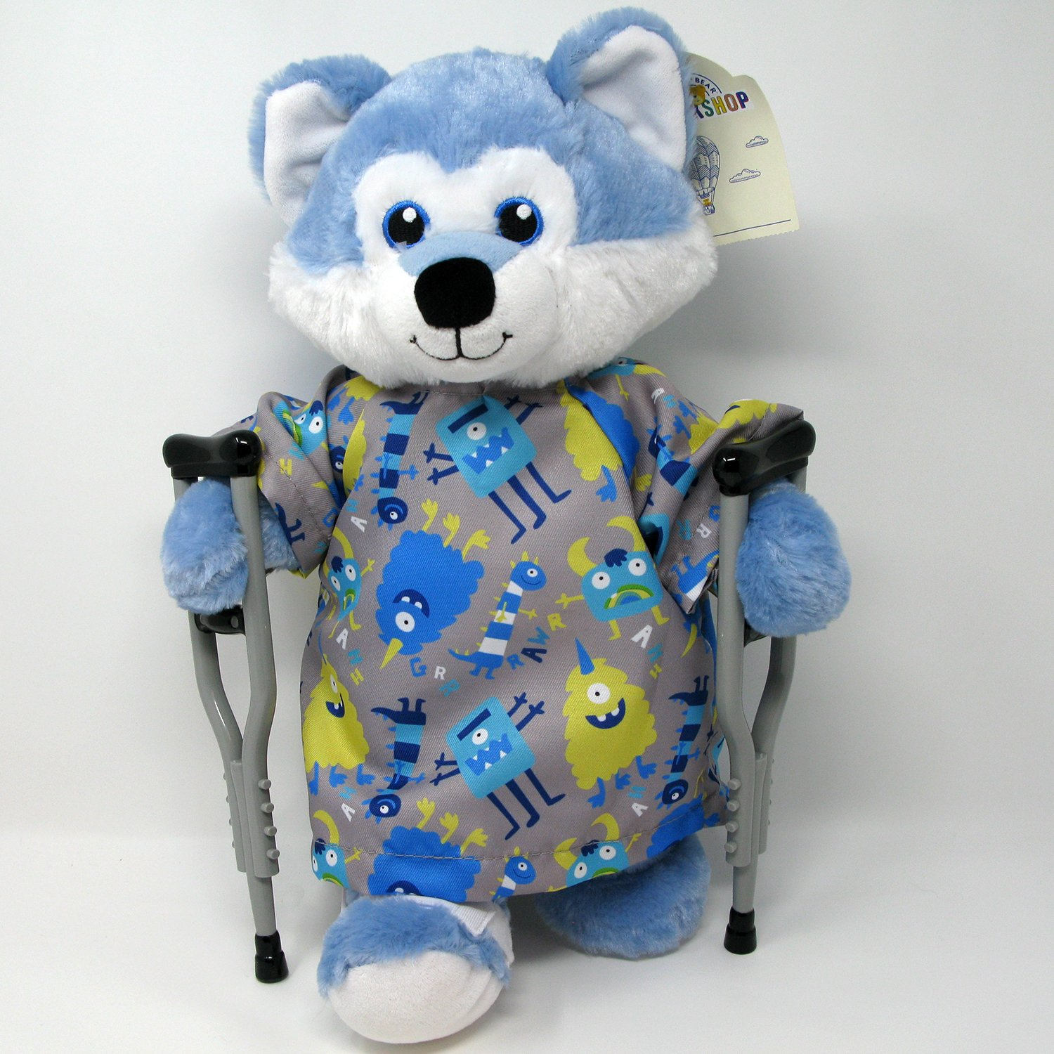 Blue Husky Puppy Dog Get Well Patient in Hospital Gown Crutch Set and Broken Leg Cast
