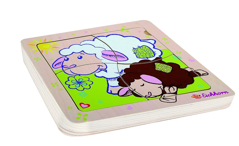 ab 12 Monaten Eichhorn 6tlg Einlegepuzzle Schaf Puzzle