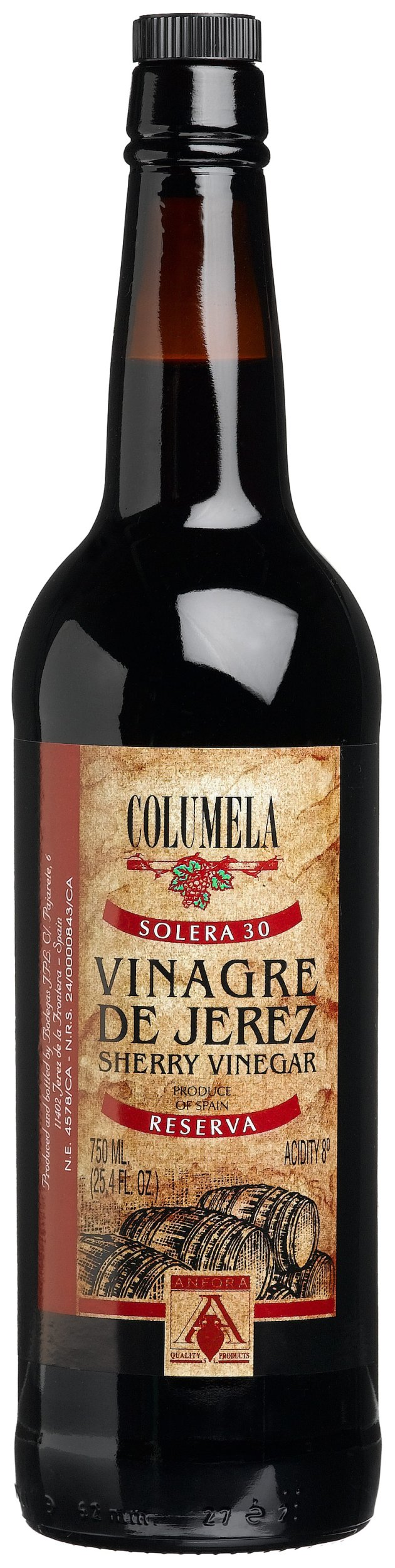 Columela Vinagre de Jerez, Sherry Vinegar, 25.4-Ounce Glass Bottles (Pack of 2)