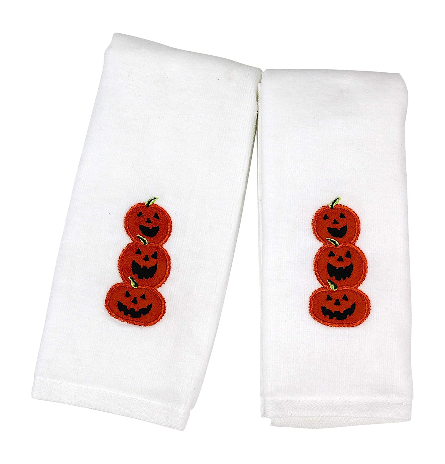 Nantucket Home Decorative Halloween Tip Towels: Plush White Embroidered Cotton Jack O Lantern Pumpkin Design, 2 Piece Set, 11