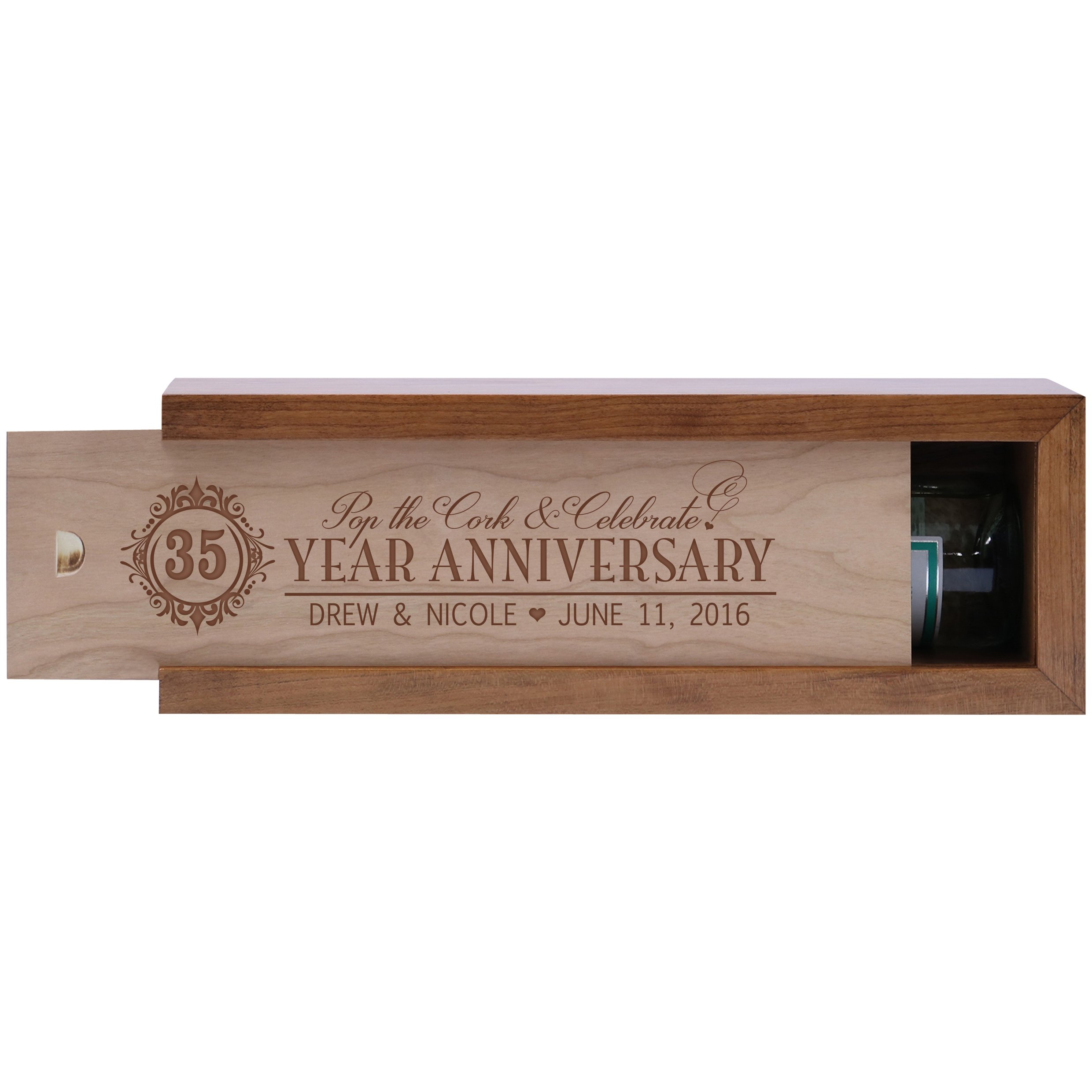 Personalized 35th year anniversary gift wood wine box Custom engraved gift for husband wife boyfriend or girlfriend Exclusively by American Wine Krafts (Cherry Box with Unfinished Cherry Lid)