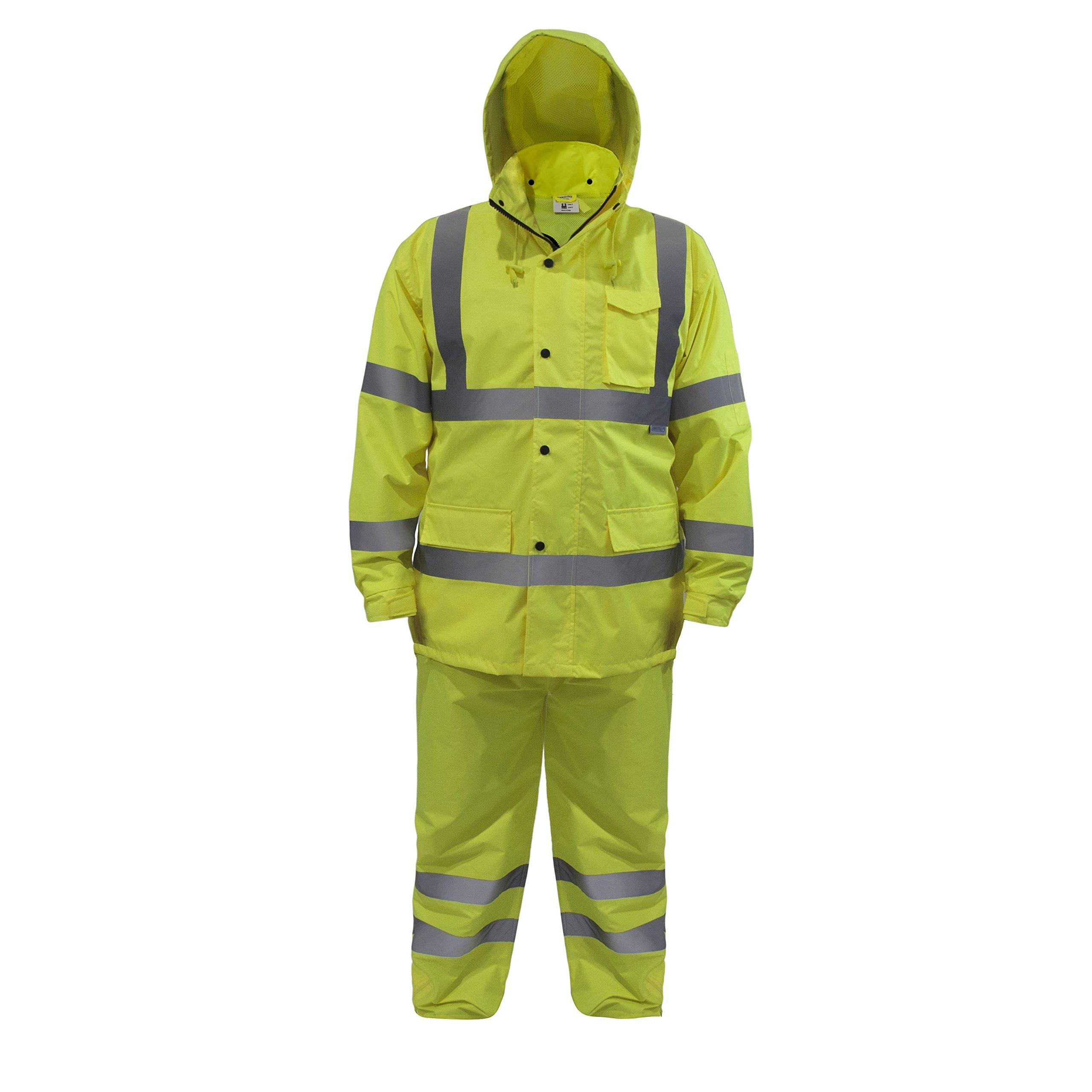 JORESTECH Light Weight Waterproof Rain Set Jacket and pants set High Visibility Yellow ANSI/ISEA 107-2015 Class 3 Level 2 (2X-Large)
