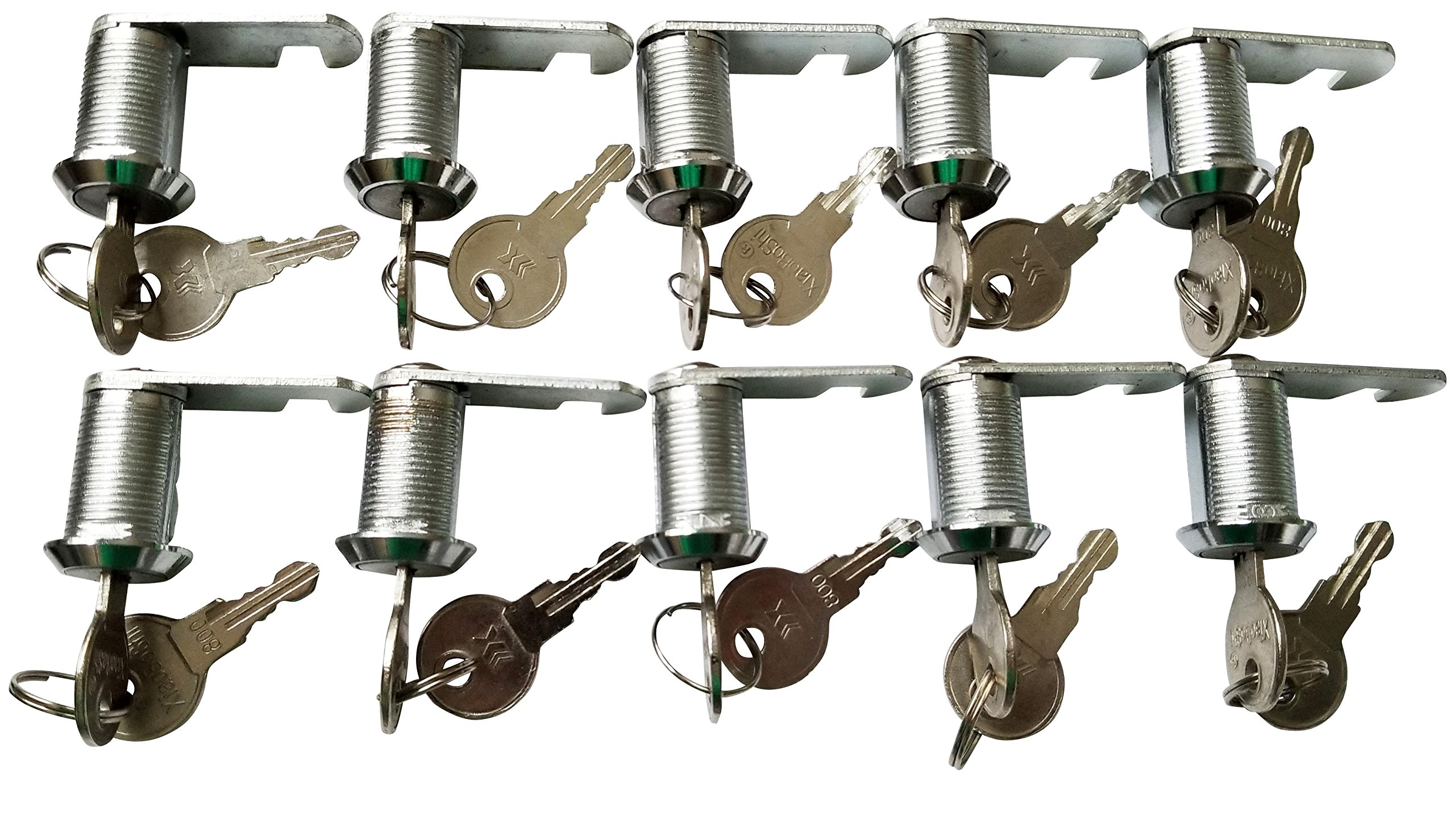 7/8 inch or 25mm Cam Lock with Flat Keys. 25mm 7/8 Cylinder and Chrome Finish, Keyed Alike (Pack of 10)