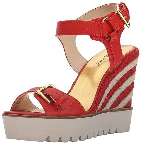 dc1011efc1f7a Amazon.com | Nine West Women's Aprilshower Leather Wedge Sandal, Red ...