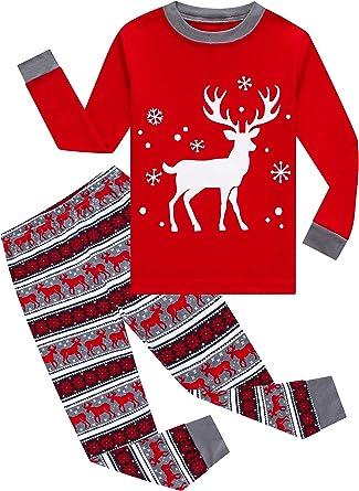 Little Girls Boys Long Sleeve Christmas Pajamas Sets 100/% Cotton Pjs Kids Holiday