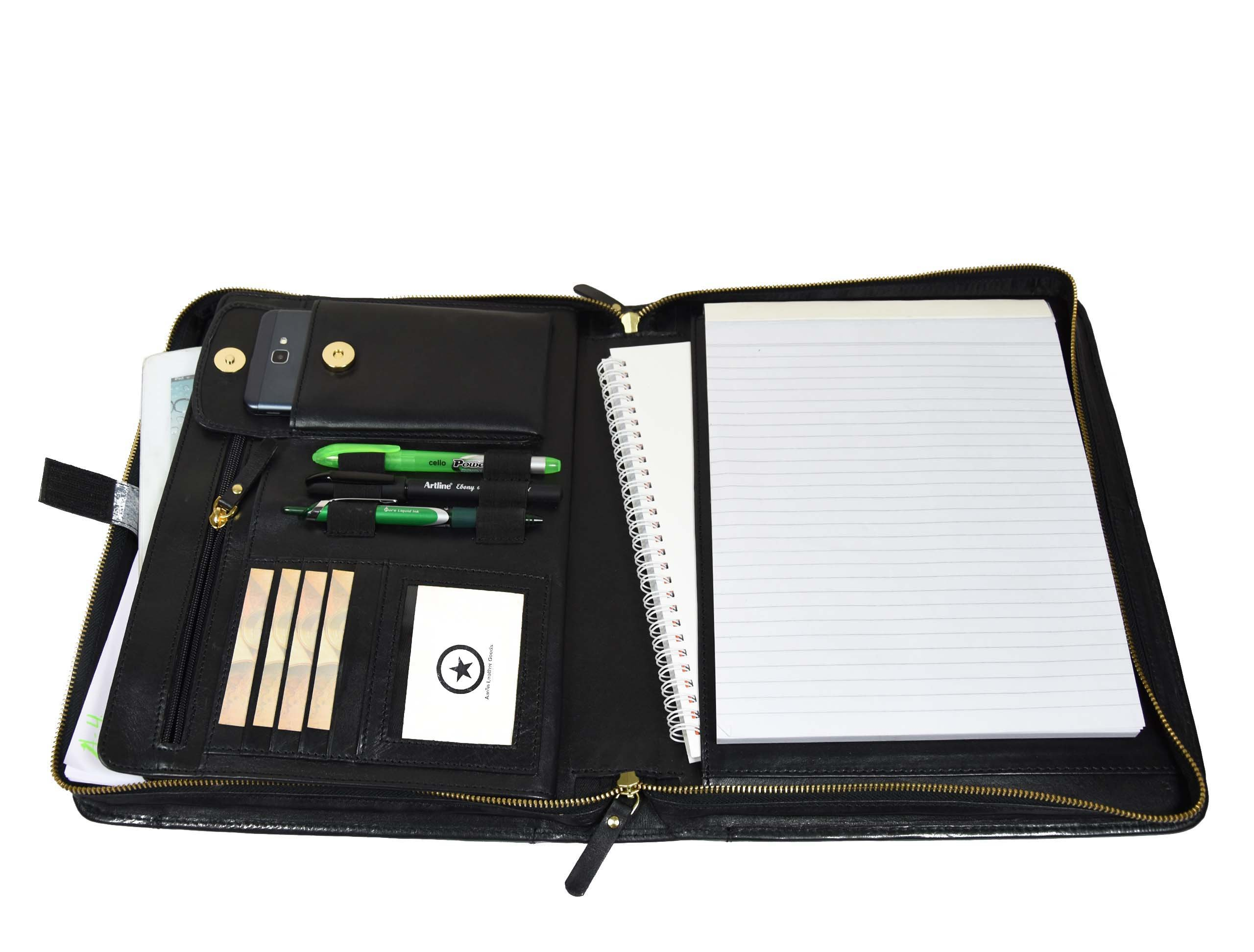 Zippered Genuine Leather Business Portfolio |Easy to Carry Organizer With Writing Pad Holder,Business Card And Pen Slots.IPAD Holder And Flip-Closure Phone Pocket, Black by Aaron Leather(With Handle)
