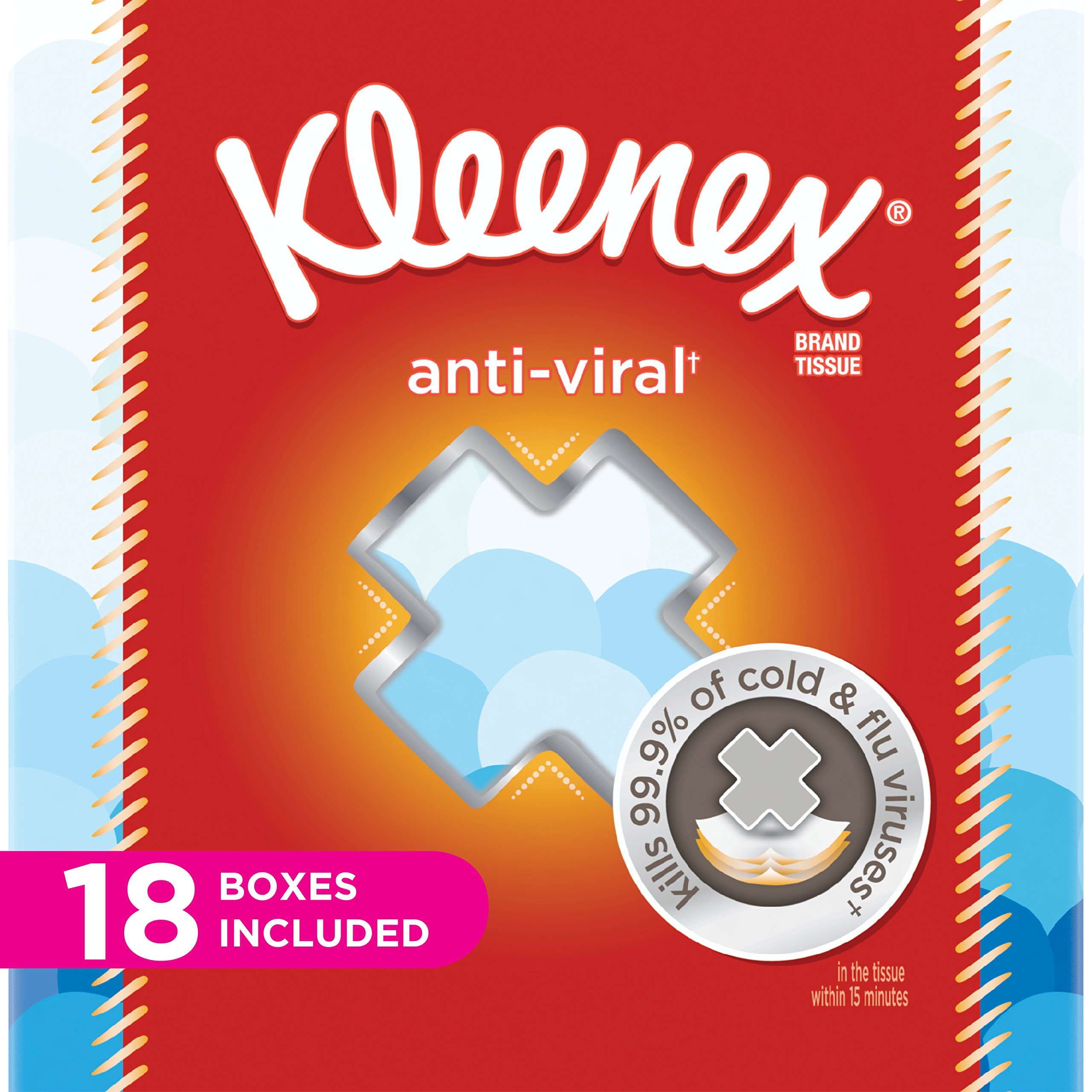 Kleenex Anti-Viral Facial Tissues, Cube Box, 68 Tissues per Cube Box, 18 Packs by Kleenex