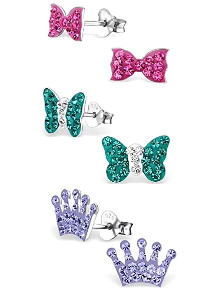 a702c6ff2 925 Sterling Silver Hypoallergenic Set of 3 Pairs Blue Zircon Crystal  Butterfly, Pink Crystal Bow