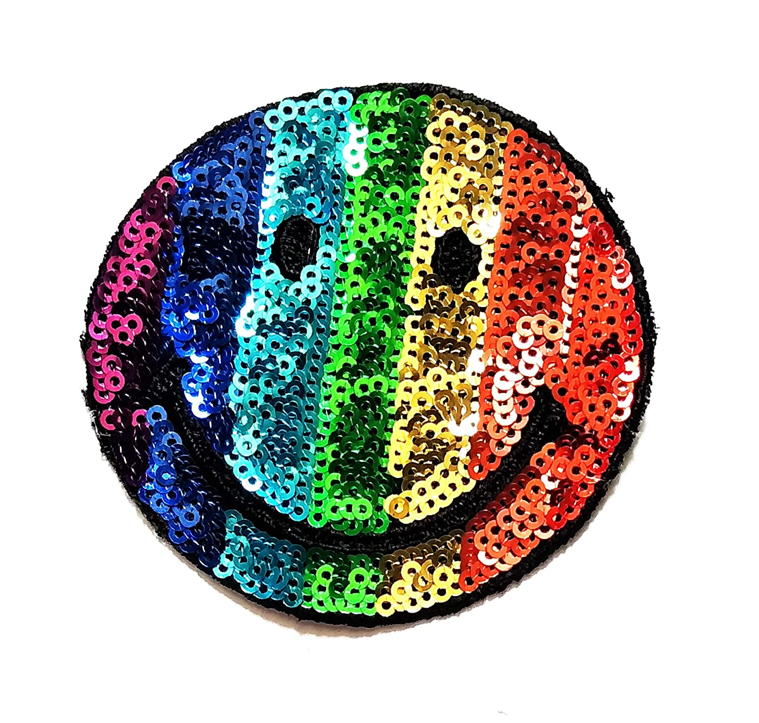 3'' X 3.2'' Sequin Rainbow Smile Happily in Good Day Cartoon Kids Logo Jacket t-Shirt Jeans Polo Patch Iron on Embroidered Logo Sign Badge Comics Cartoon Patch by Tour les jours Shop