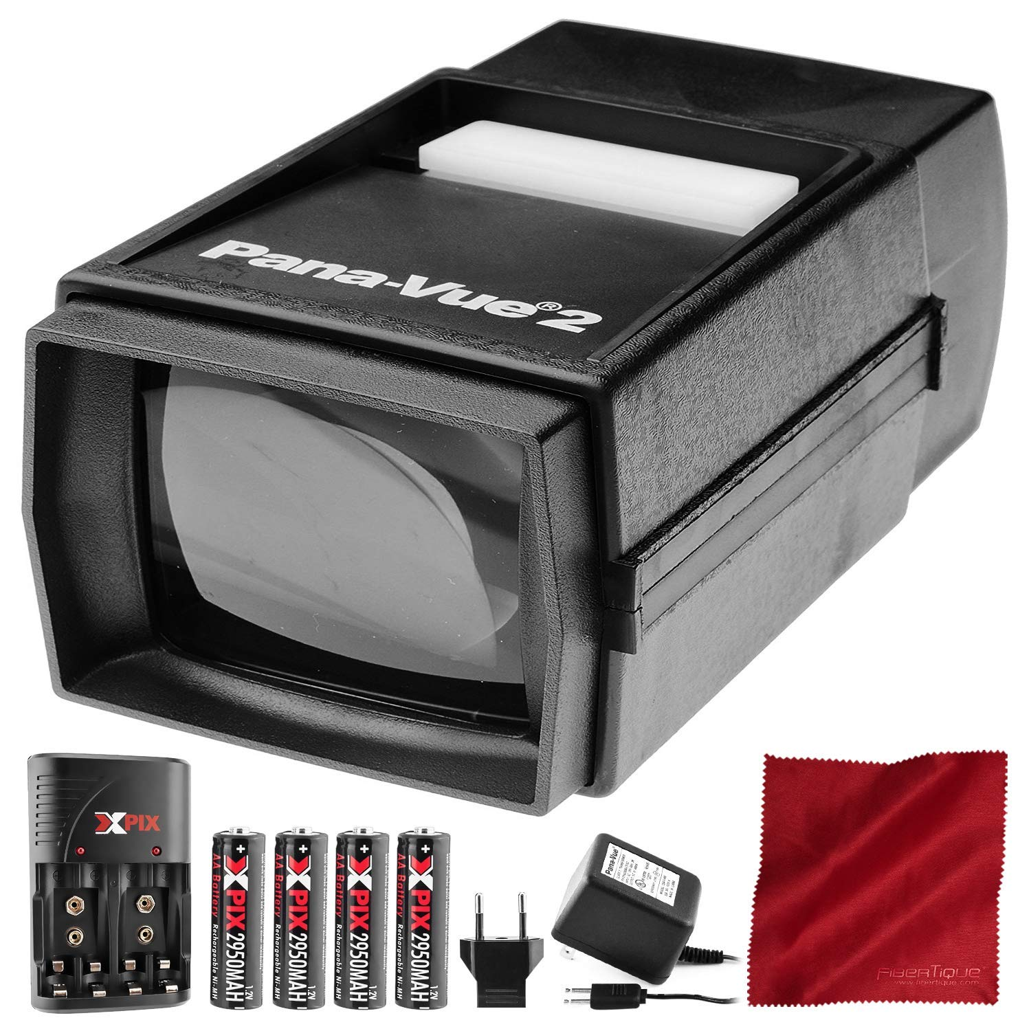 Pana-Vue 2 Illuminated Slide Viewer + Transformer + Battery & Charger Kit Deluxe Bundle by Pana-Vue