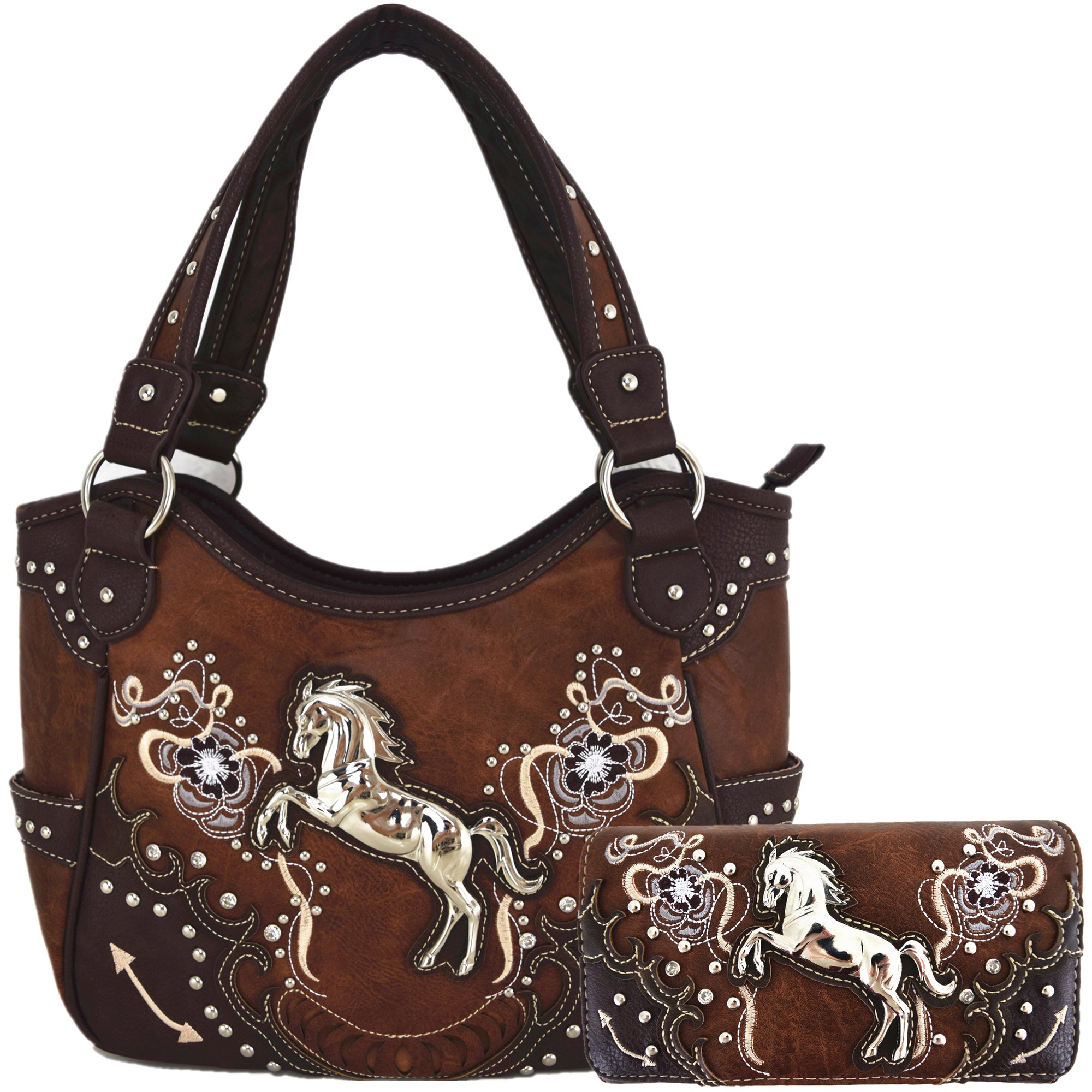 Western Style Horse Laser Cut Totes Purse Concealed Carry Handbag Women Country Shoulder Bag Wallet Set (Brown Set)