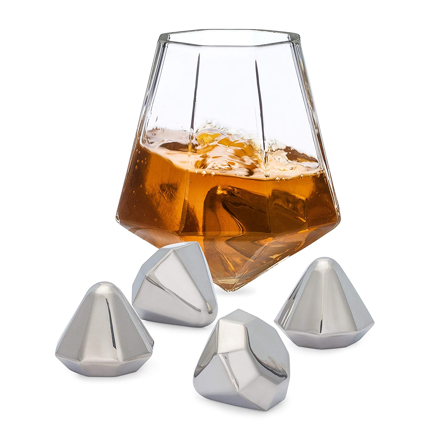 Dragon Glassware Diamond Whiskey Stones, Reusable Stainless Steel with Velvet Carrying Pouch - Set of 4